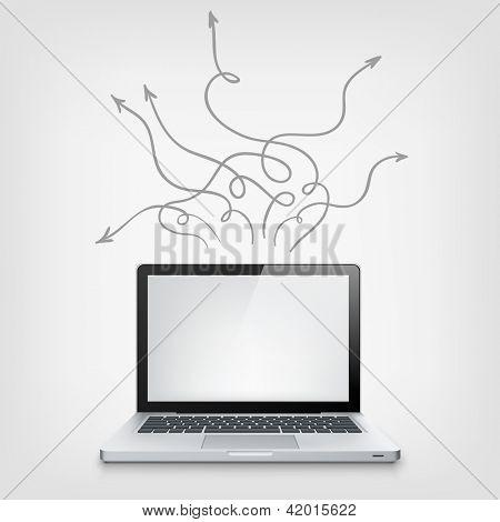 Laptop Concept. Grey Vignette Background. Vector EPS 10.