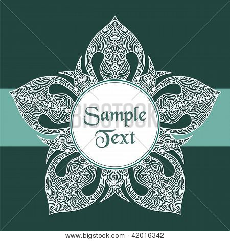 Floral Star Round Vector Ornament Frame Card Cover Wrapping Wallpaper Background Pattern For Text