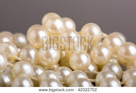 Closeup view of pearl necklace