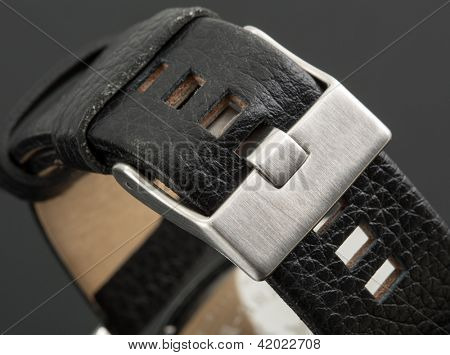 Macro view of latch on expensive watch