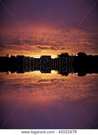 Building Silhouette Against Purple Sky