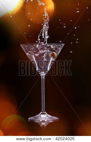 martini drink over dark background