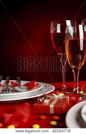Romantic Dinner Table And Wedding Rings