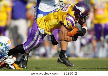 VIENNA, AUSTRIA - MARCH 25: WR BachTimothee Bach (#5 Vikings) is tackled on March 25, 2012 in Vienna, Austria.