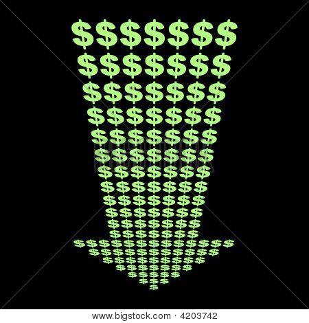 Dollars Symbol Down Arrow