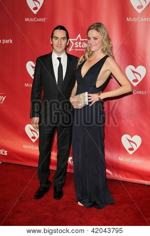 LOS ANGELES - FEB 8:  Dhani Harrison; Sola Karadottir arrives at the 2013 MusiCares Person Of The Year Gala  at the Los Angeles Convention Center on February 8, 2013 in Los Angeles, CA