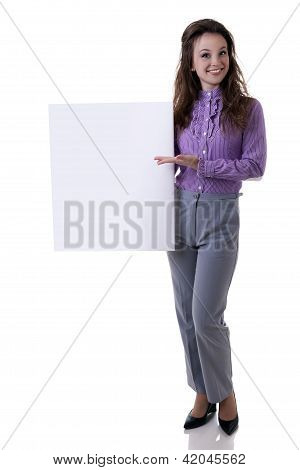 Young Woman Holding A Bord In Her Hands Isolated On White