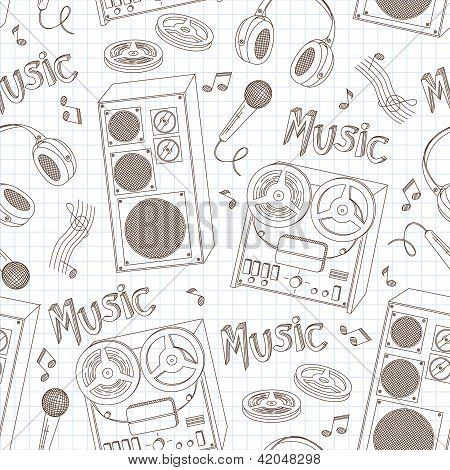 Retro seamless pattern of music equipment