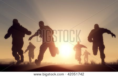 A group of men running in from the sun.