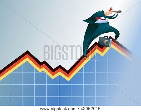 A broker climbing by an economic graph, looking for a better way. Raster image. Find editable version in my portfolio.