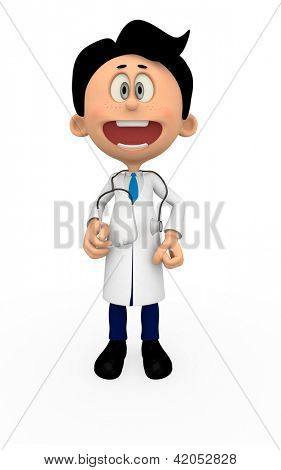 3D Doctor smiling - isolated over a white background