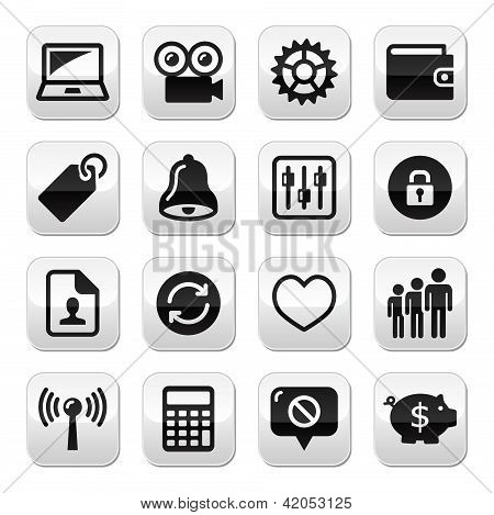 Web internet buttons set - vector