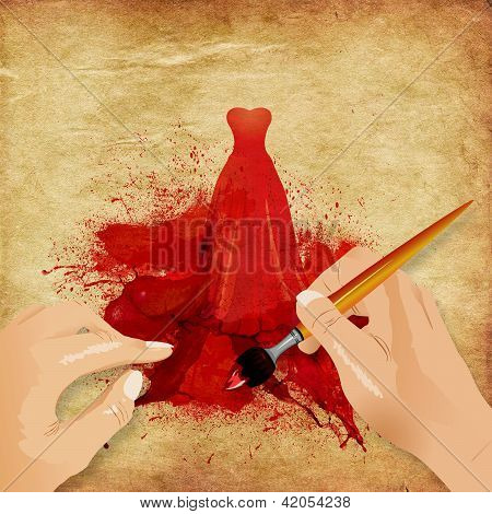 Hands Painting Red Dress