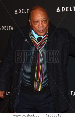 LOS ANGELES - FEB 7:  Quincy Jones arrives at the Celebration of LA's Music Industry reception at the Getty House on February 7, 2013 in Los Angeles, CA