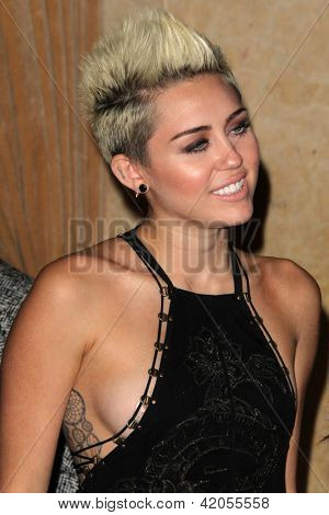 LOS ANGELES - FEB 9:  Miley Cyrus arrives at the Clive Davis 2013 Pre-GRAMMY Gala at the Beverly Hilton Hotel on February 9, 2013 in Beverly Hills, CA