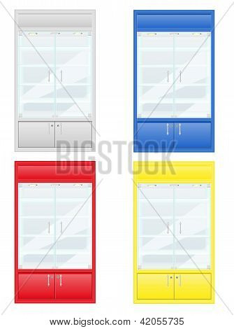 Color Showcase Of Shop Equipment Vector Illustration