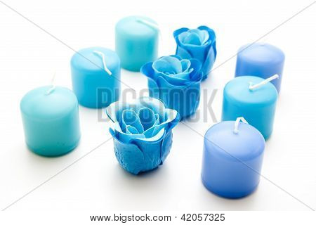 Blue Candles with Blue Flower