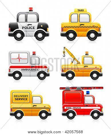 Set of service automobiles.