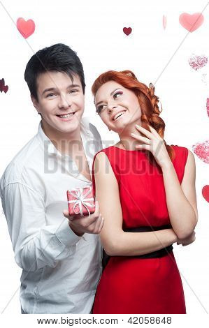 young smiling couple on valentines day