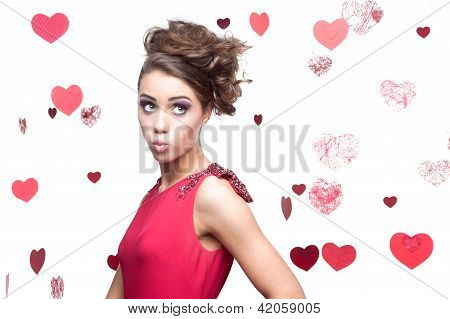 cheerful young woman in red dress