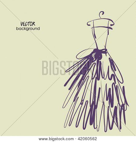 arte de esboçar o desenho do vestido de noiva vetorial