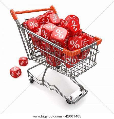 Discounts. Shopping cart and cubes with percent. 3d