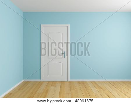 Empty interior room with door and wooden floor