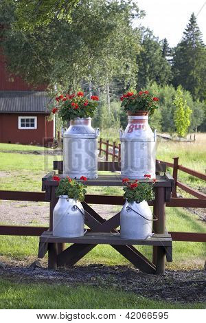 Old Style Milk Canisters