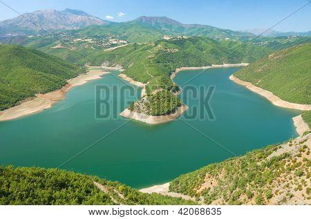 a peninsula of Fierza Lake around Kukes in northeast Albania