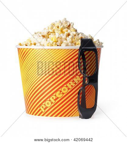 Popcorn and 3d glasses on a white background