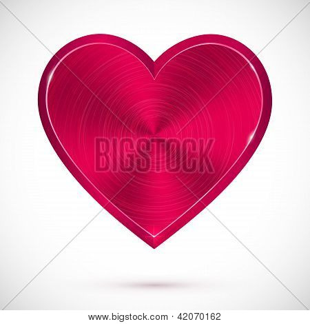 Pink isolated metallic heart Valentines day symbol