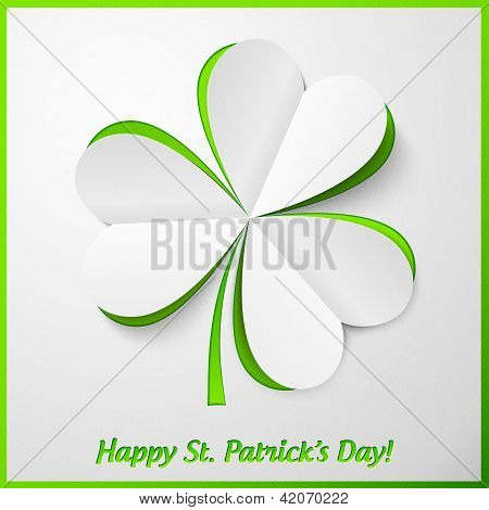 White and green paper cutout clover