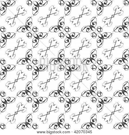 Vintage Star Shaped Tiles Seamless Pattern, Monochrome Background