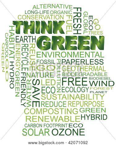 Acho que cabeça de homem de Eco verde