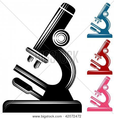 An image of a microscope icon in a scratchboard style.