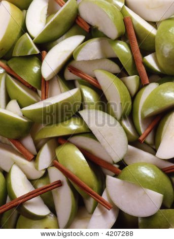 Background Of Green Apples And Cinnamon