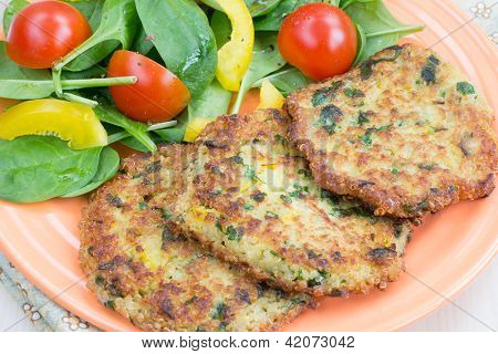 Quinoa Fritters With Salad