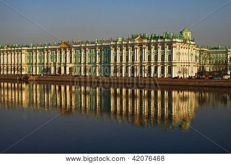 View Winter Palace in Saint-Petersburg from Neva river. Russia .