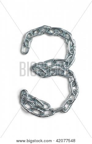 Color photo of number of the alphabet from a metal chain