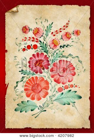 Flowers Are Drawn On An Old Paper