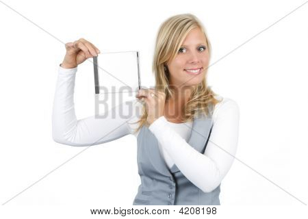 Woman Presenting Jewel Case