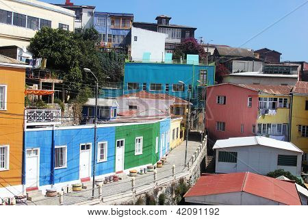 Colorful houses at Hill Bellavista in Valparaiso, Chile