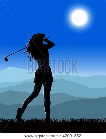 Female golfer playing a round of golf