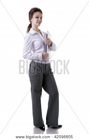 Businesswoman With A Laptop In Her Hands Full Length Isolated On White