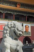 foto of zedong  - A stone lion outside the Forbidden City in Beijing with the famous portrait of Mao Zedong in the background - JPG