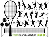 stock photo of slam  - Tennis Players Silhouettes  - JPG