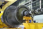 picture of hydroelectric power  - Industrial steam turbine at the workshop - JPG