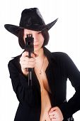 pic of uzi  - Young attractive woman with automatic gun - JPG