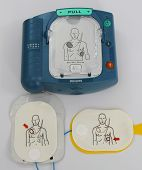 Automated External Defibrillator with pads