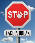 picture of stress relief  - take a break for lunch coffee or take a a vacation or leisure day off to rest - JPG
